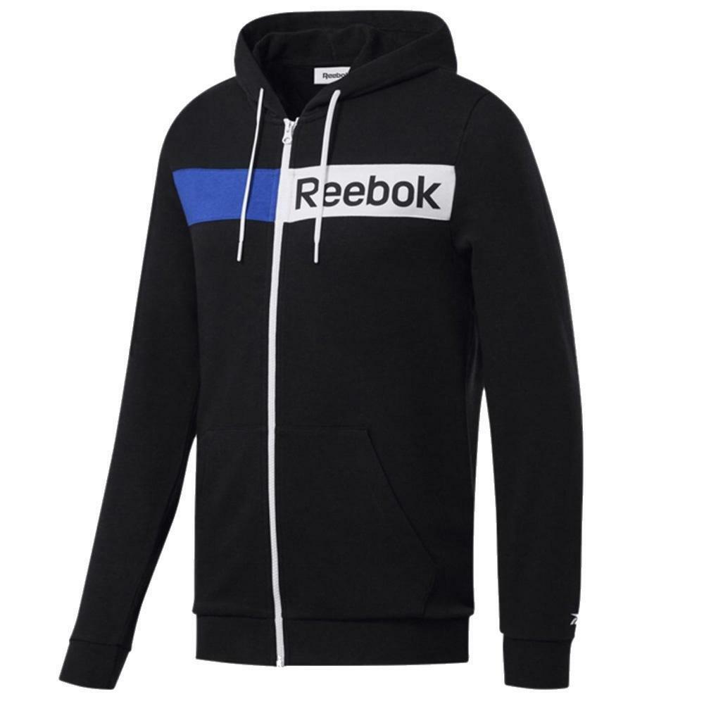 reebok reebok felpa zip/capuccio uomo nero fk6115