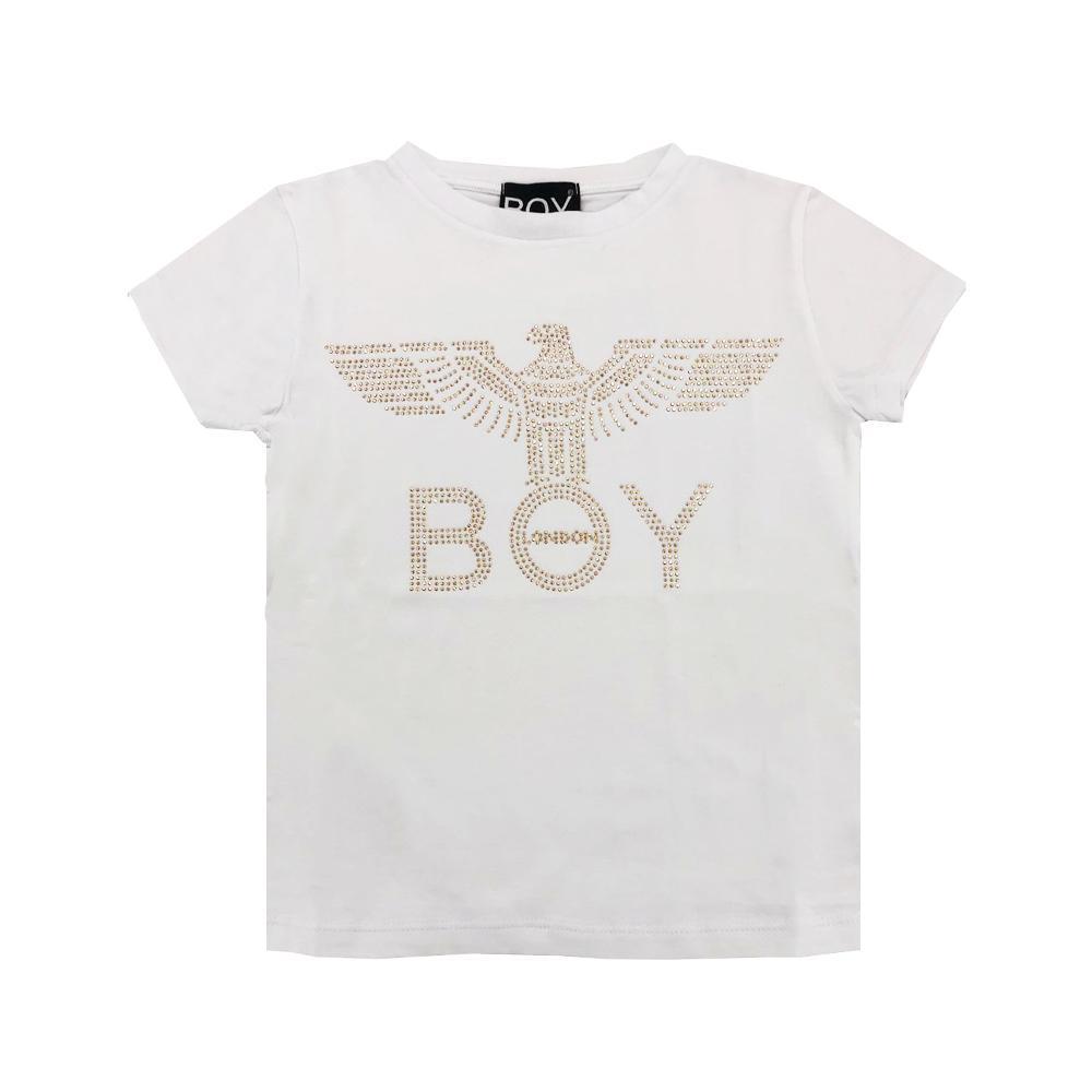 boy london boy london t-shirt ragazza bianco oro tsbl2127j