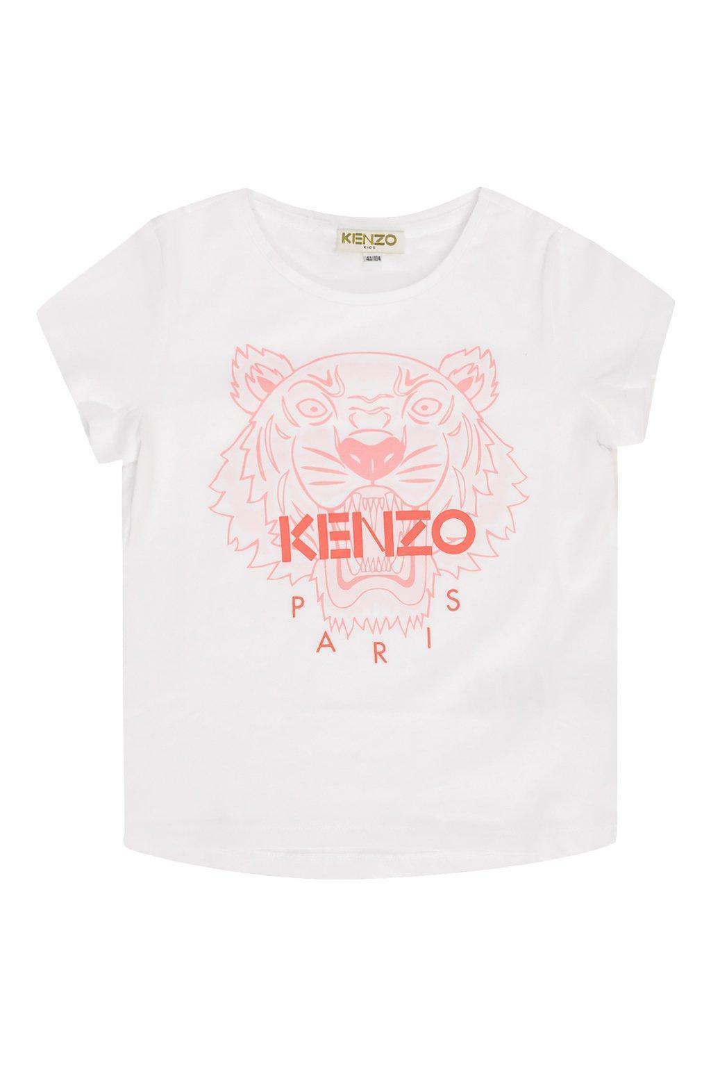 kenzo kenzo t-shirt bambina bianco rosa kq10258