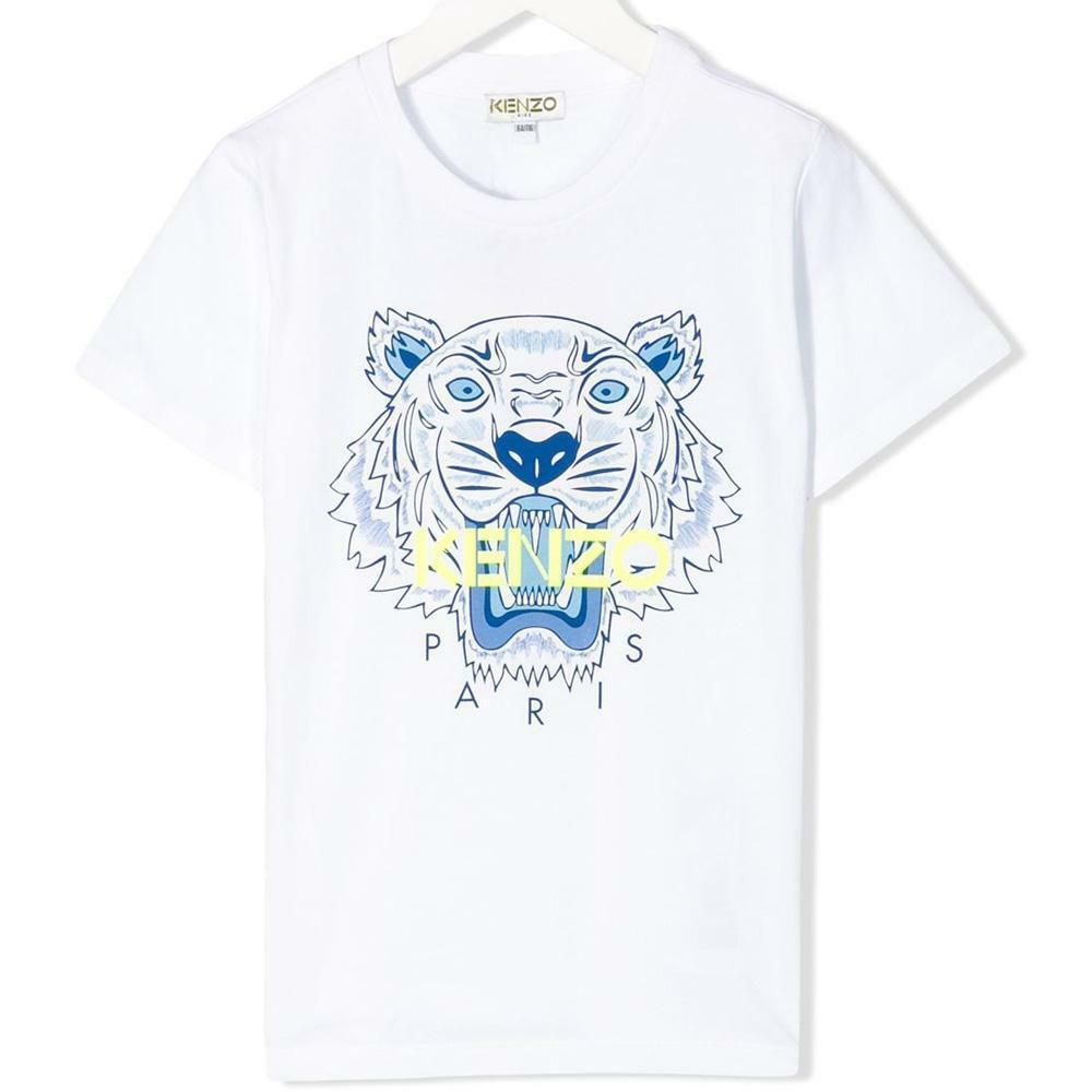 kenzo kenzo t-shirt junior bianco giallo fluo  kq107182