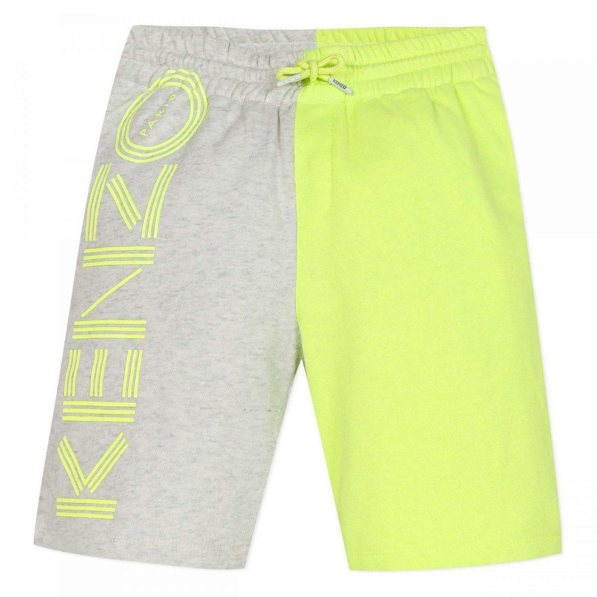 kenzo kenzo bermuda junior grigio giallo fluo kq256581
