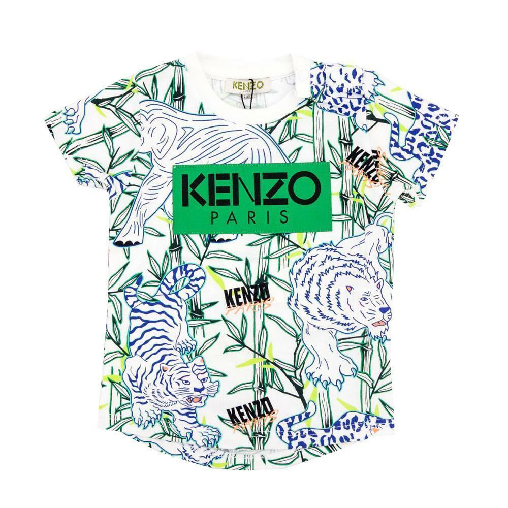 kenzo kenzo t-shirt bambino bianco fantasia  kq10588