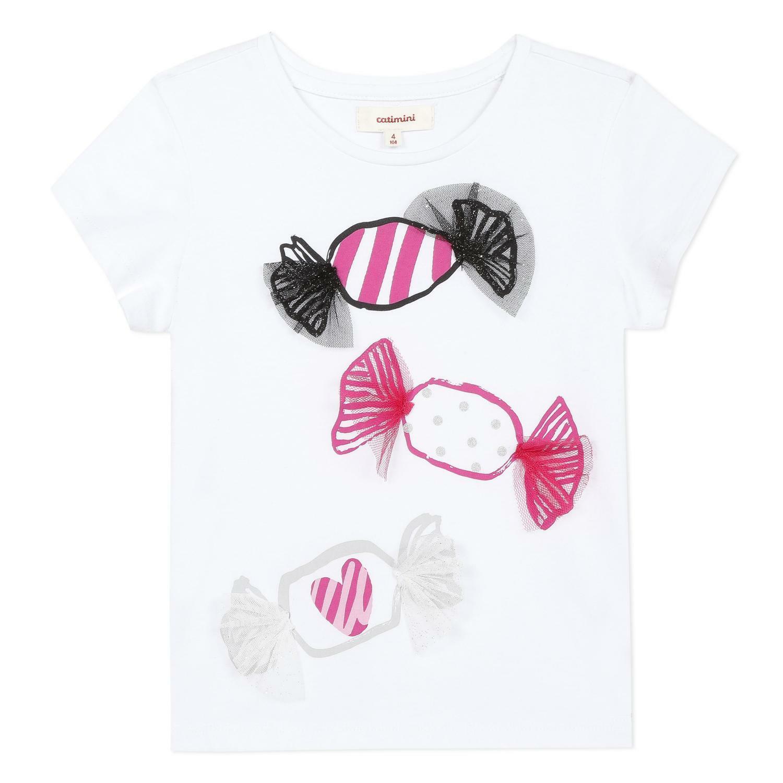 catimini catimini t-shirt bambina bianco cq10215