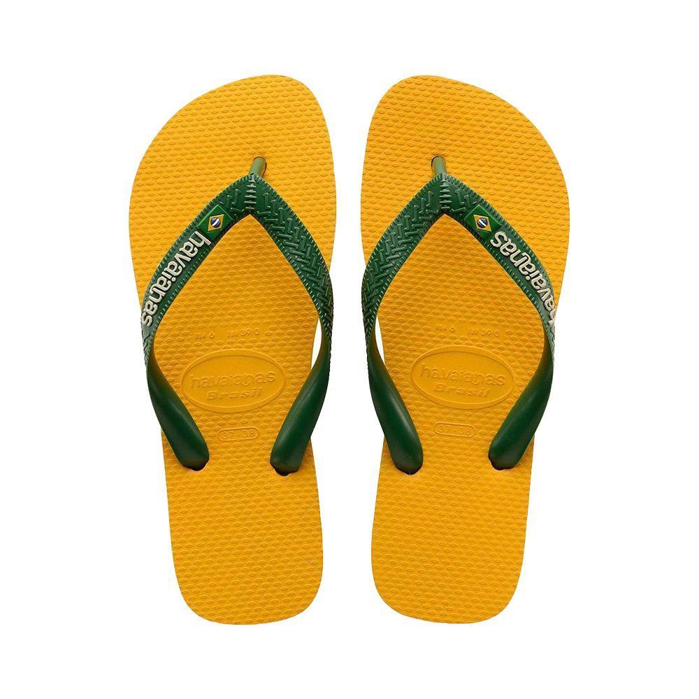 havaianas havaianas infradito unisex bambino ocra verde h. brasil logo