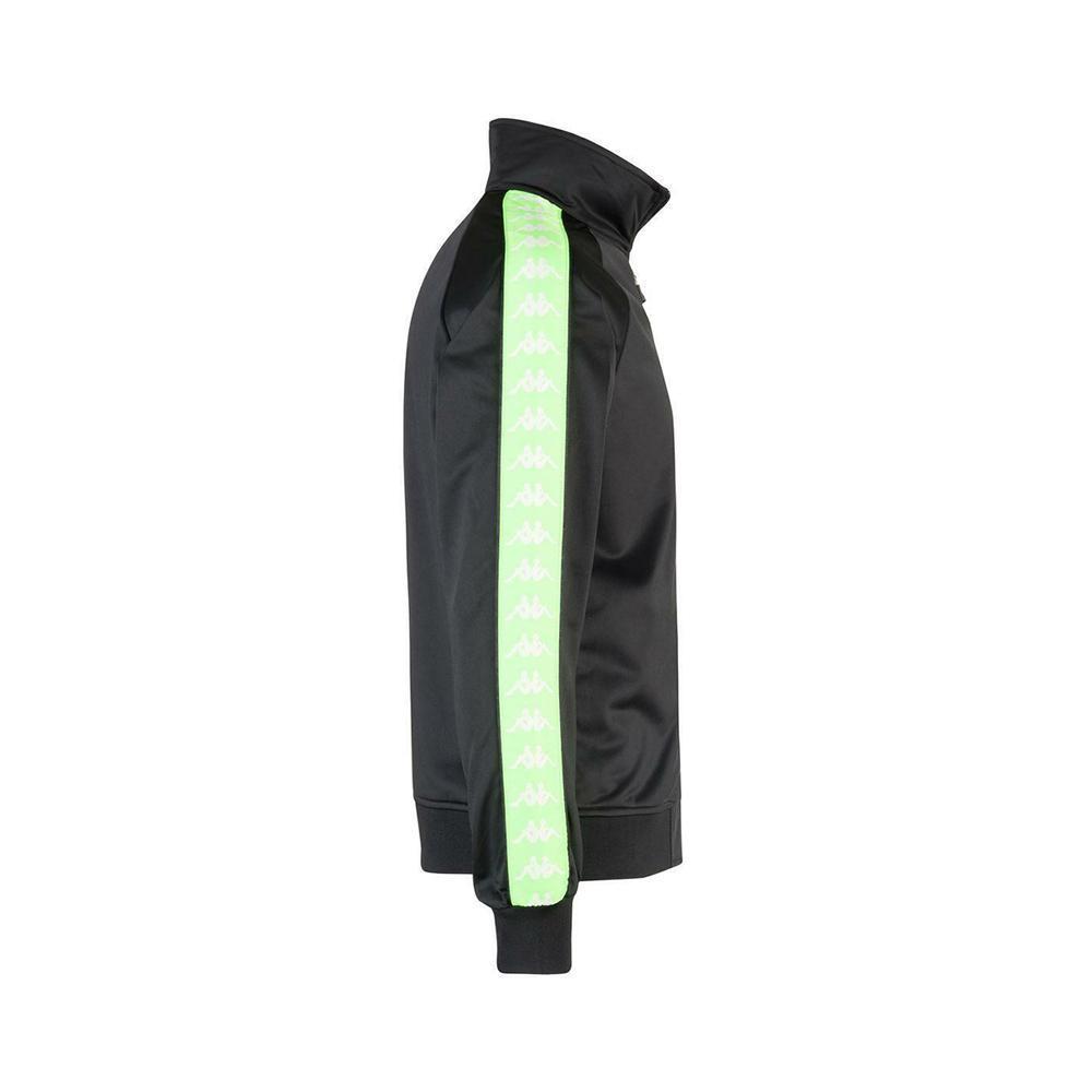 kappa kappa felpa zip uomo nero verde 301efu02