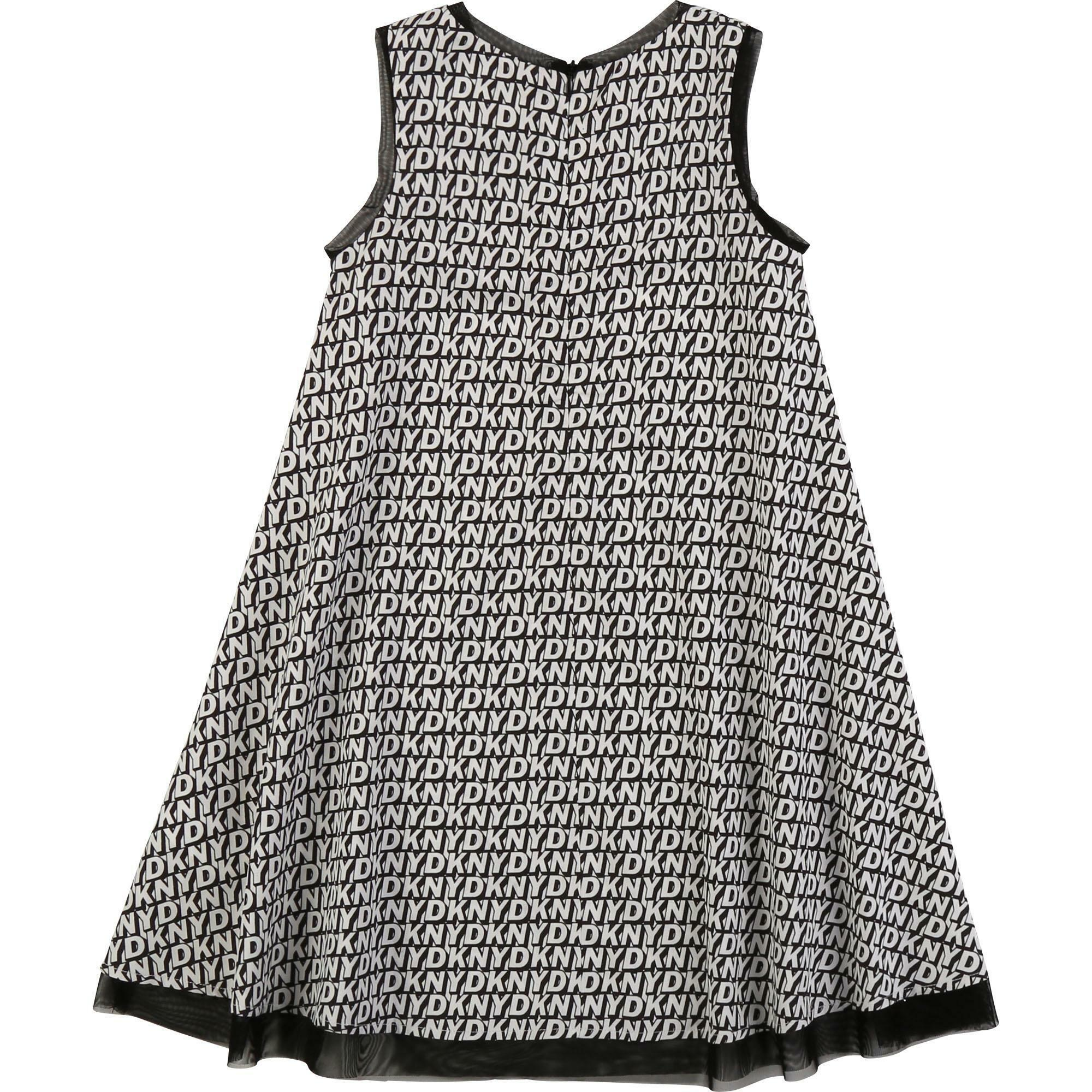 dkny dkny vestito bambina bianco nero d32750