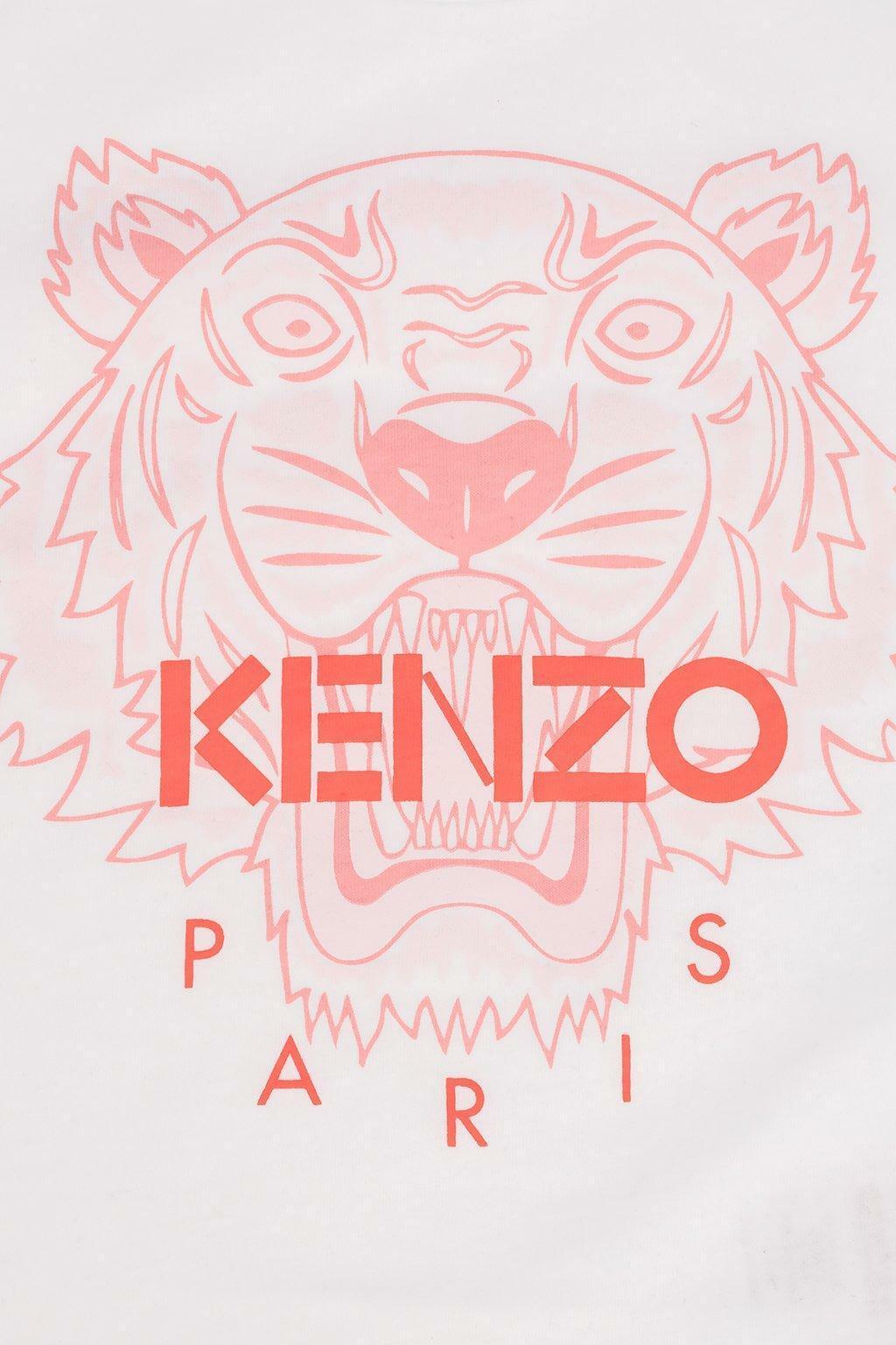 kenzo kenzo t-shirt ragazza bianco rosa kq102582