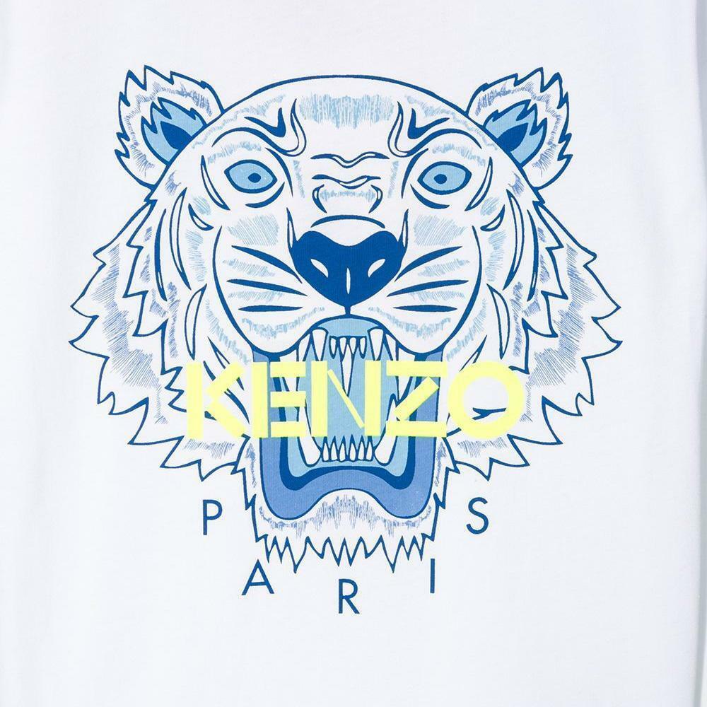 kenzo kenzo t-shirt bambino bianco giallo fluo kq10718