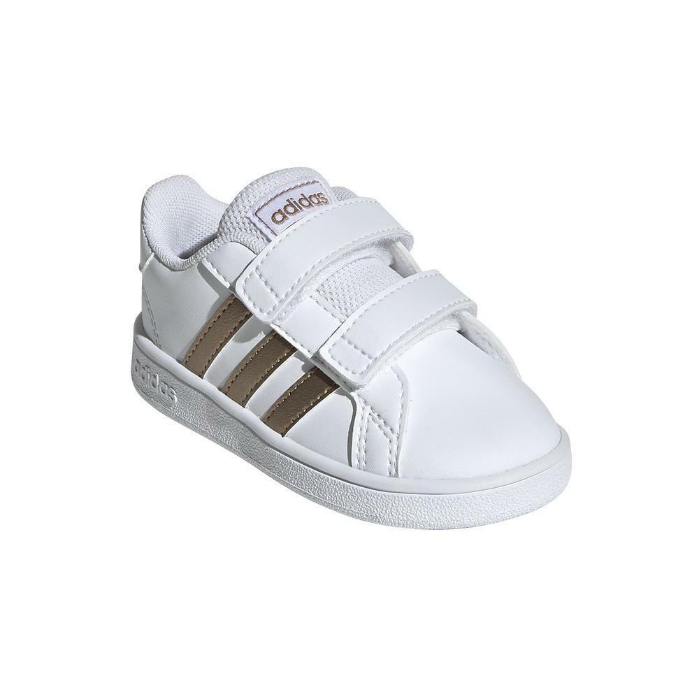 adidas adidas grand court i bambino strappo sportivo ef0118 bianco