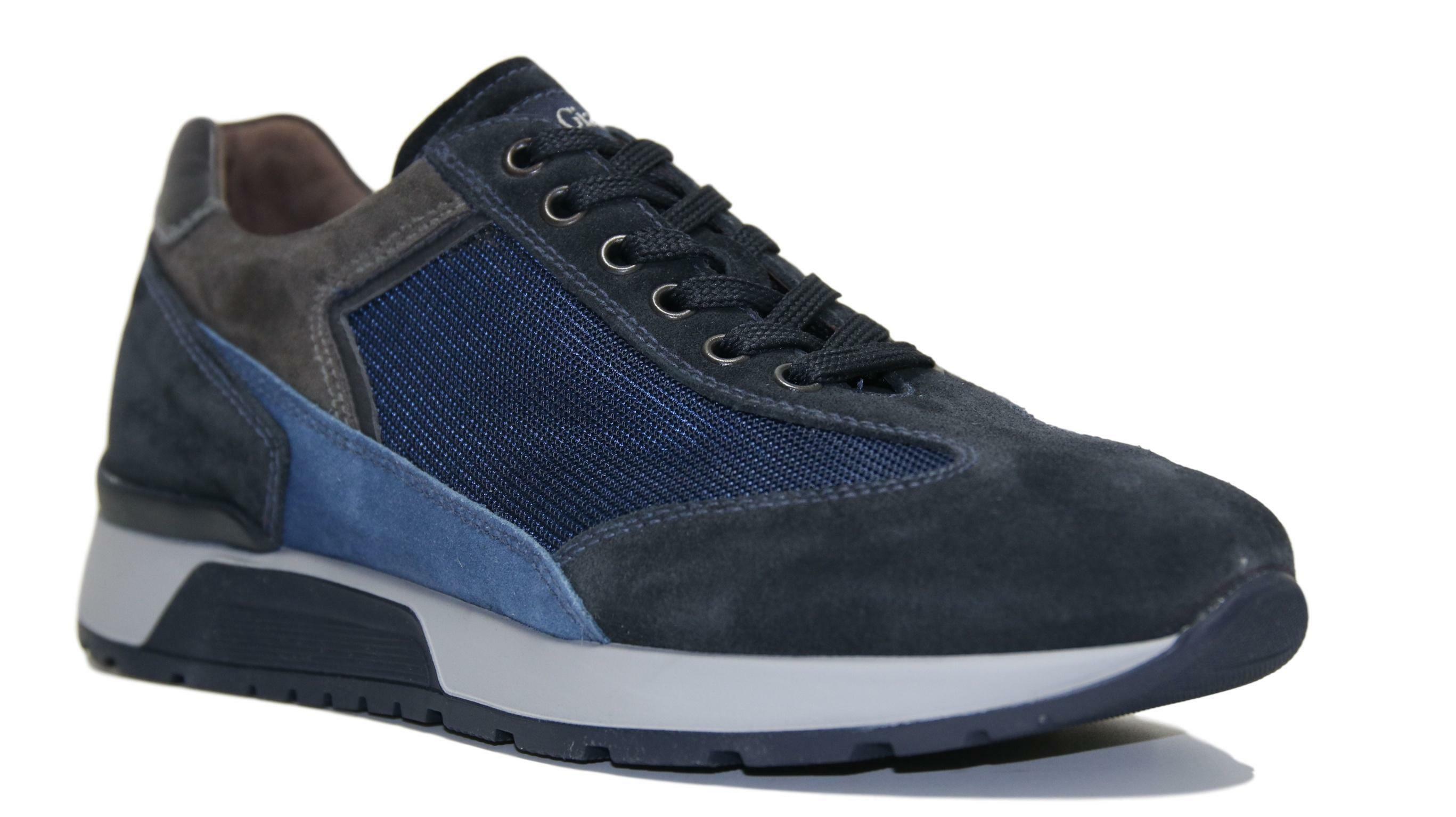 Scarpe da uomo Sneakers in nabuk morbido Nero Giardini