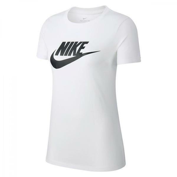 nike nike t-shirt tee essntl icon fut bv6169 100 da donna bianco