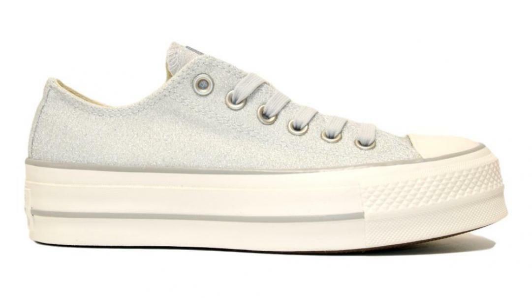 converse converse ctas clean lift ox 560953c donna argento scarpa sportiva