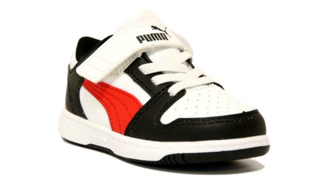 puma puma rebound layup lo sl v inf bambino 370493 007 bianco/nero/rosso