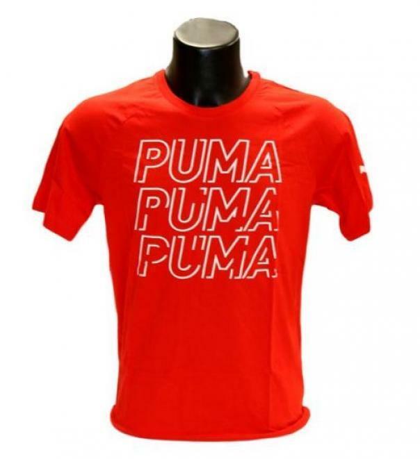 puma puma t-shirt 581489 011 manica corta uomo rosso
