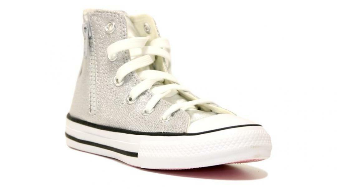 converse converse all star side zip hi silver/white/mouse 668021c argento