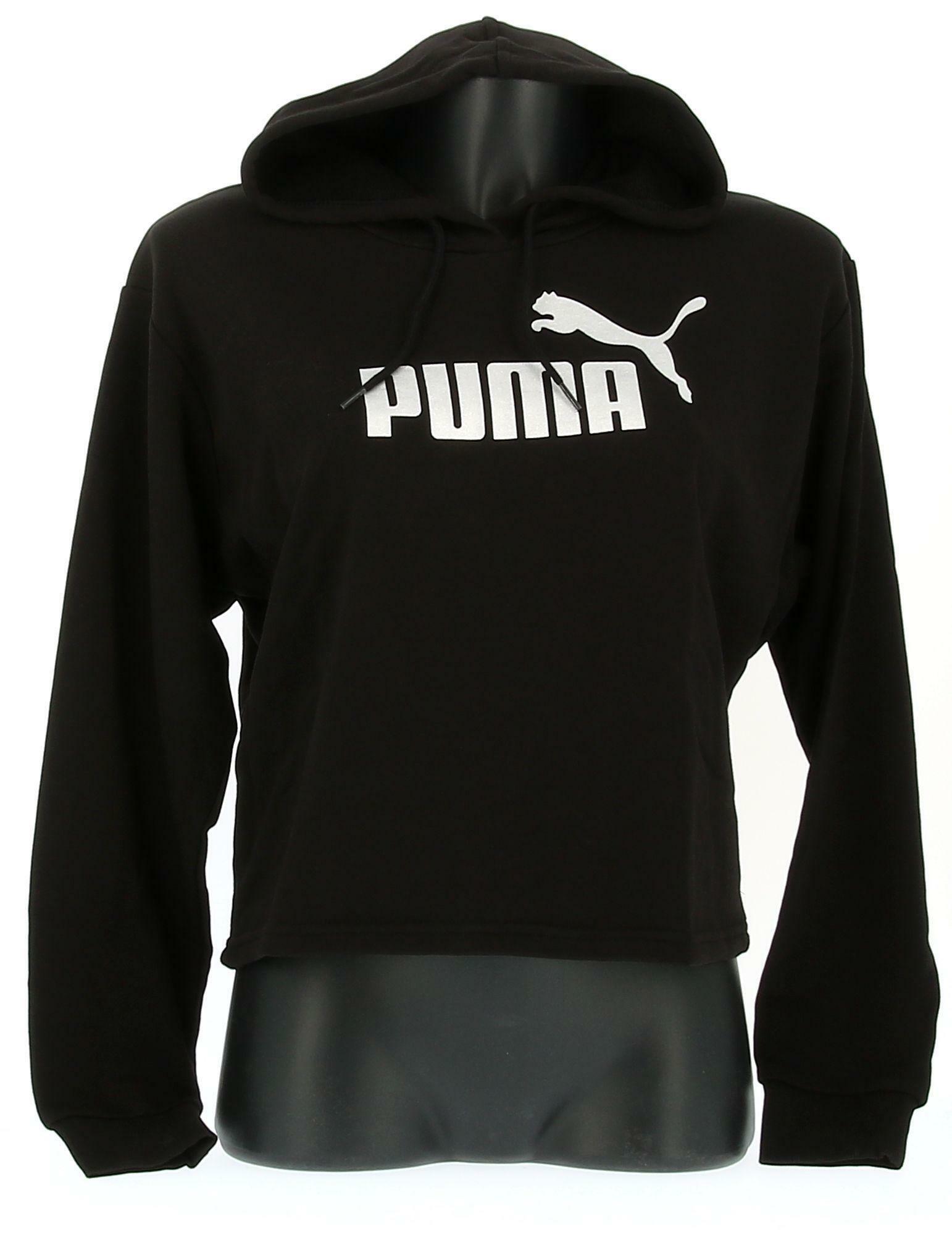 puma puma felpa ess+metallic cropped hoody tr 582411 001 cappuccio da donna nero