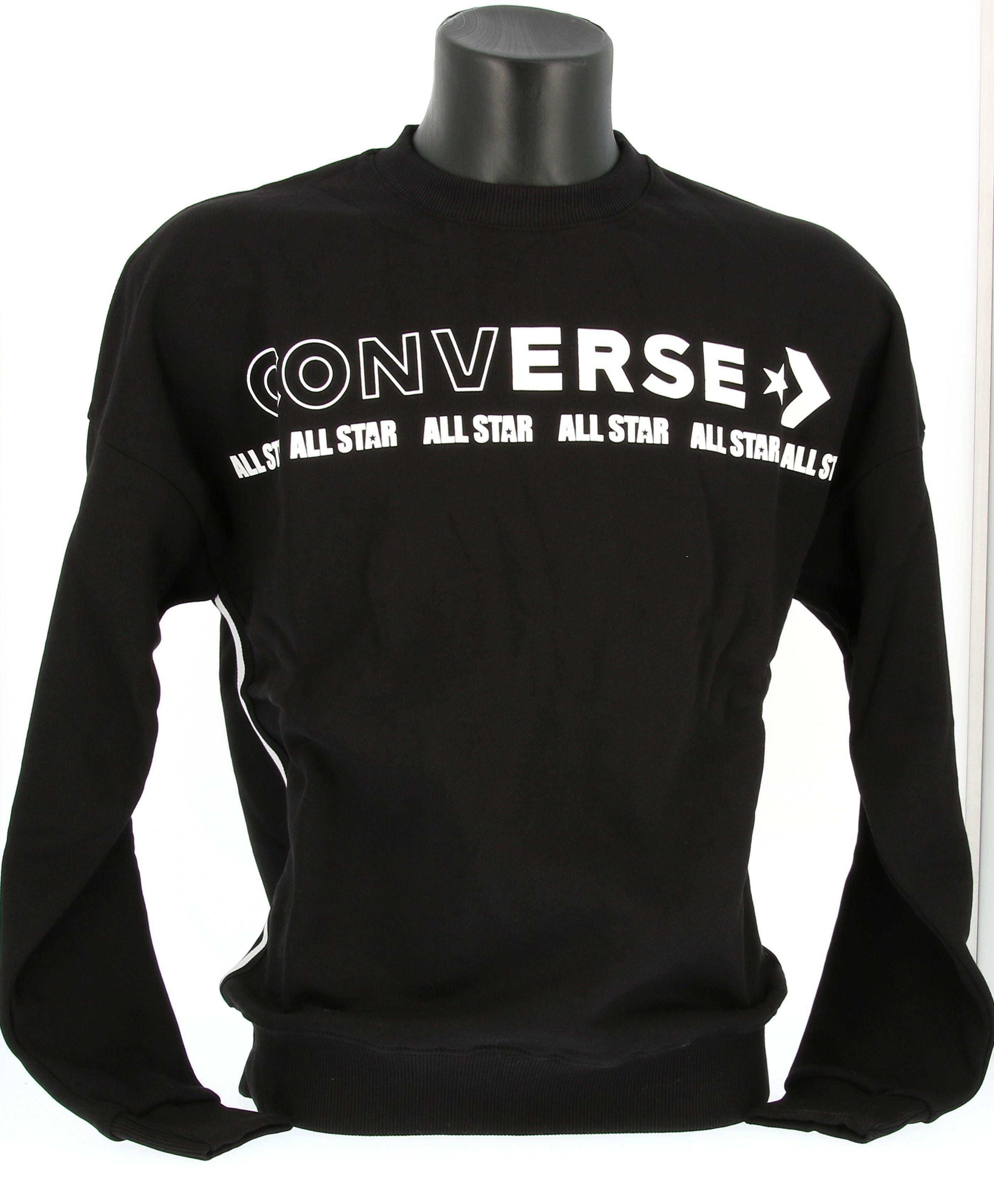 converse converse felpa fleece sweatshirt crew 10021310 da uomo nero