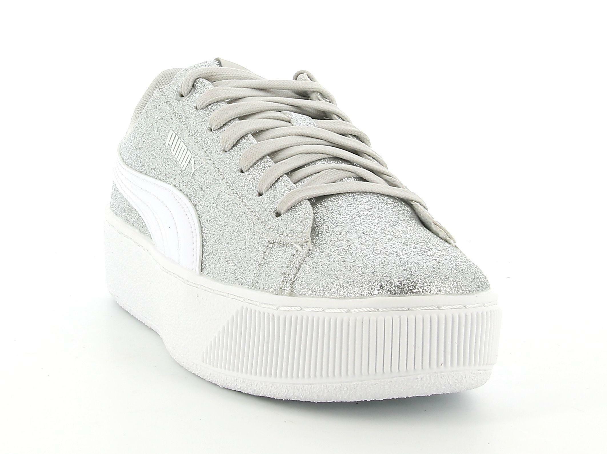 puma puma vikky platform glitz jr 366856 012 sneaker ragazza argento