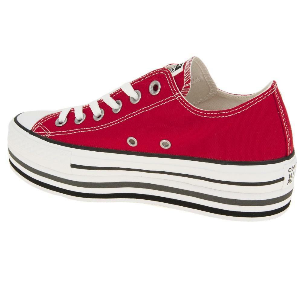 converse platform chuck taylor  layer ox scarpa donna rosso 563972c rossa