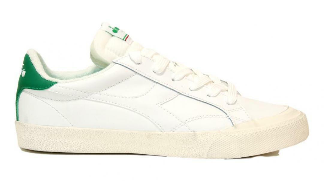 diadora diadora melody leather dirty uomo 176360 bianco/ verde