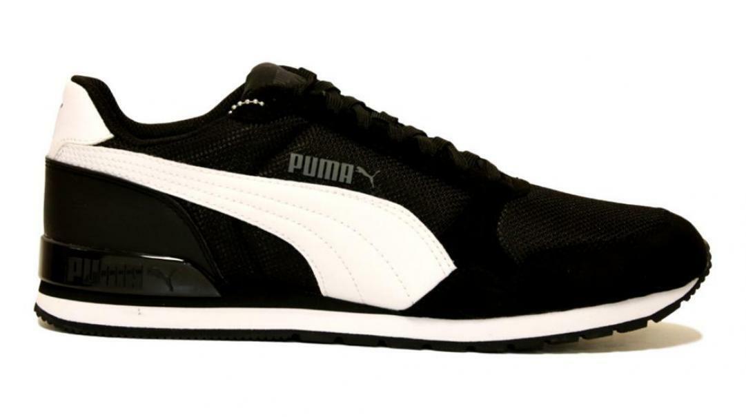 puma puma st runner v2 mesh uomo  366811 005 nero/bianco