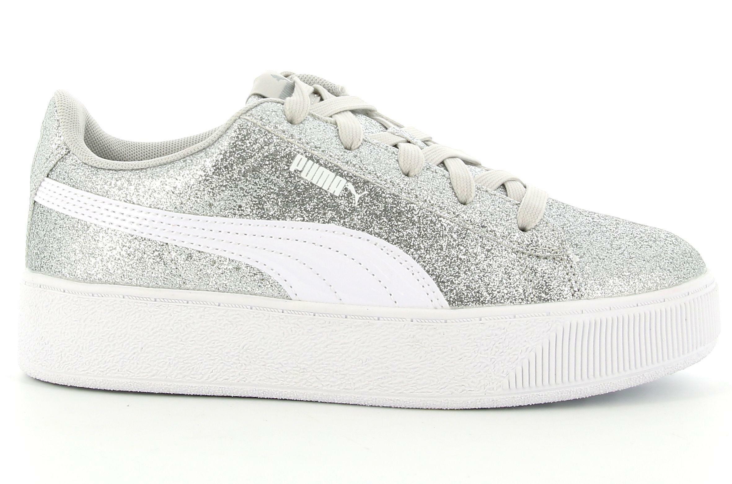 puma puma vikky platform glitz ps 370171 012 sneaker bambina argento