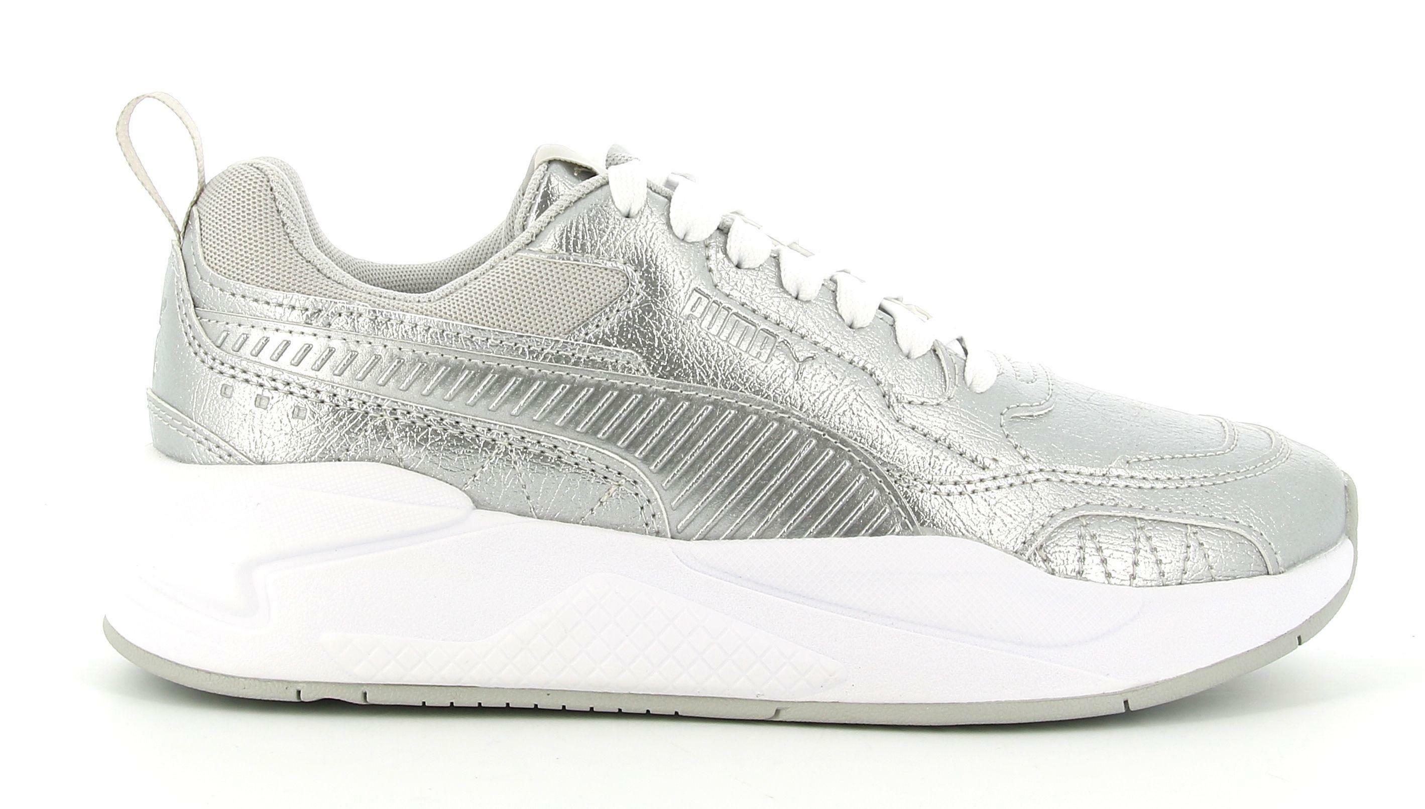 puma puma x-ray 2 square metallic 382218 001 sneaker sportiva lacci donna argento
