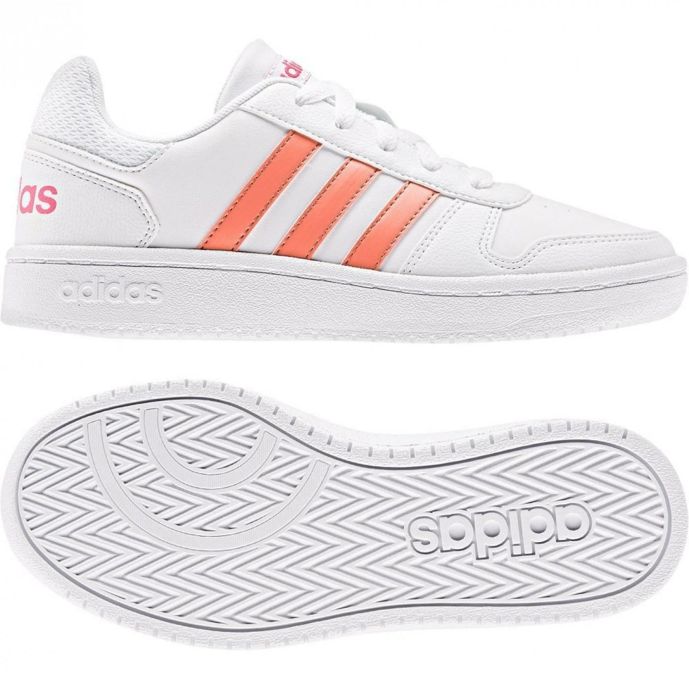 adidas adidas hoops 2.0 k bambina sneaker bassa ee6721 bianco