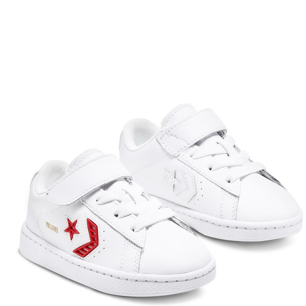 converse converse pro leather ox 768406c bianco rosso sneakers bambino