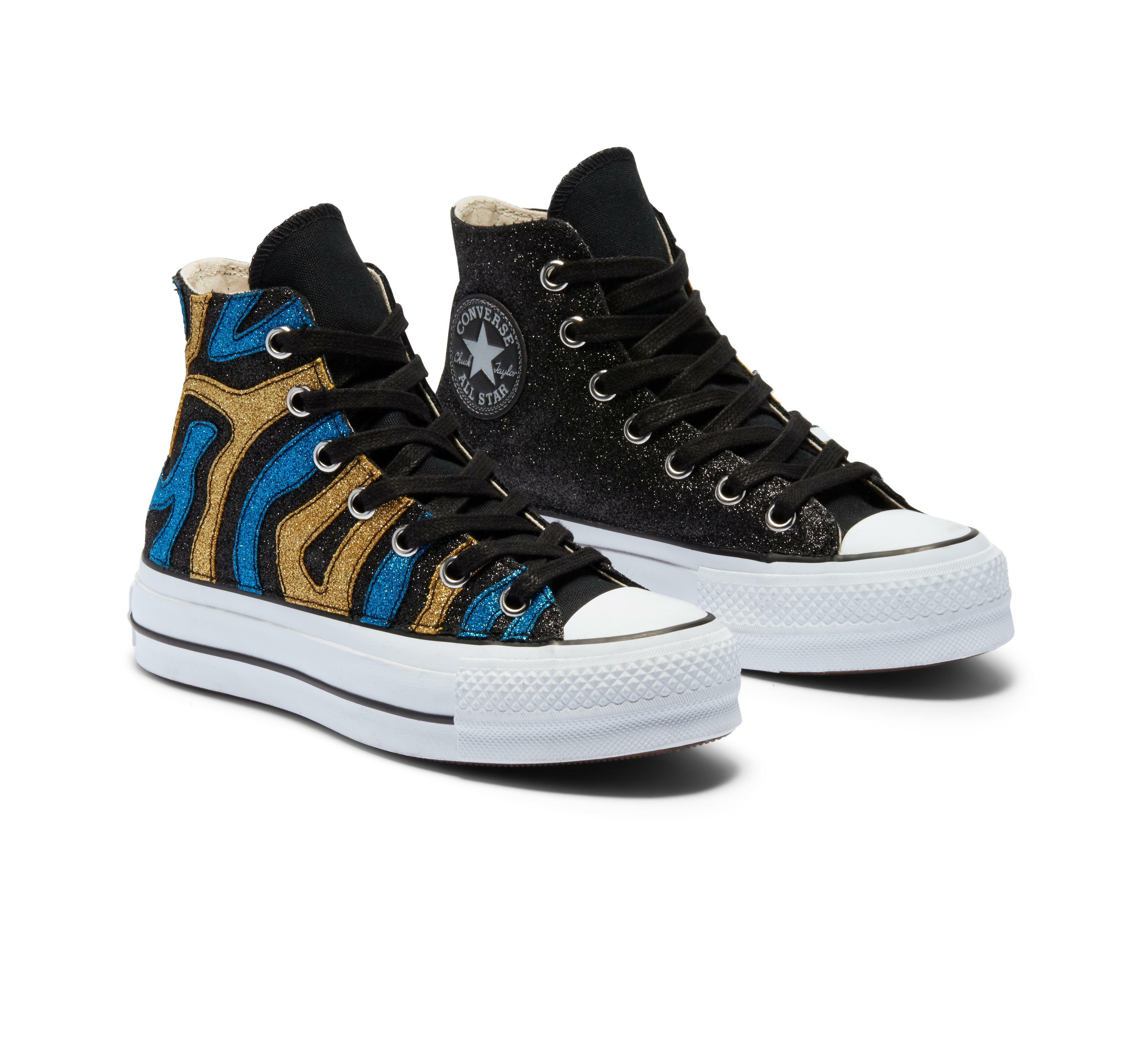 converse converse ctas lift hi limited edition 569131c  gold blue nero sneakers donna