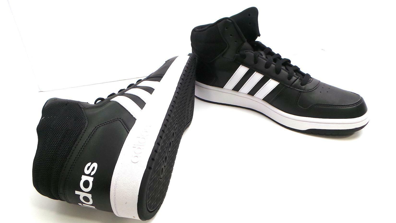 adidas adidas hoops 2.0 mid uomo sneaker alta bb7207 nero