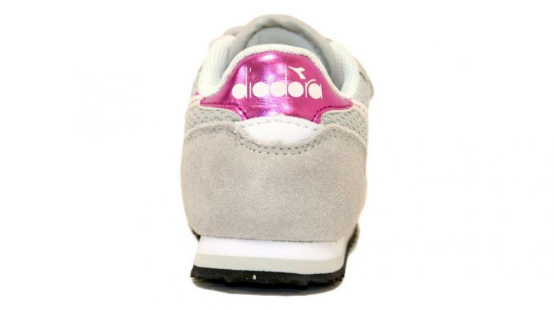 diadora diadora simple run td strappo sportivo bambina 175780 grigio/rosa