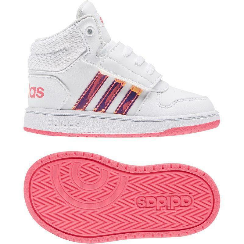 adidas adidas hoops mid 2.0 i fw7609 bianco scarpe da ginnastica bambina