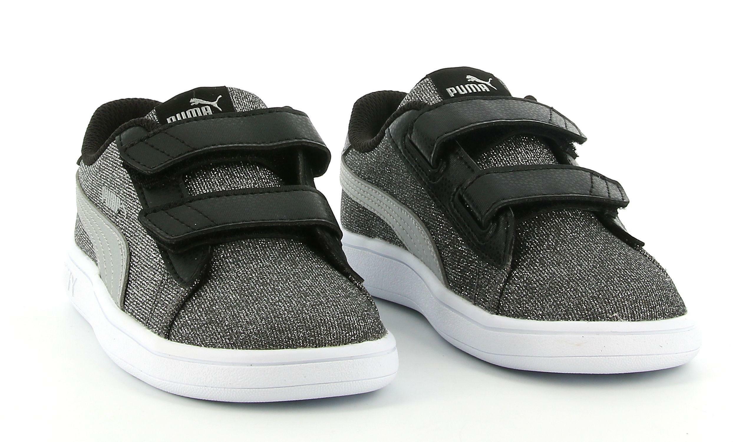 puma puma smash v2 glitz glam v inf 367380 014 sneaker bassa strappo bambina nera
