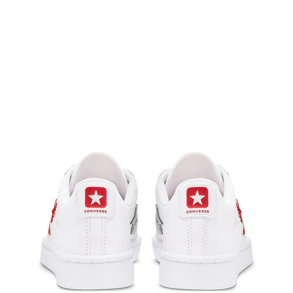 converse converse pro leather ox 368404c bianco rosso sneakers bambino