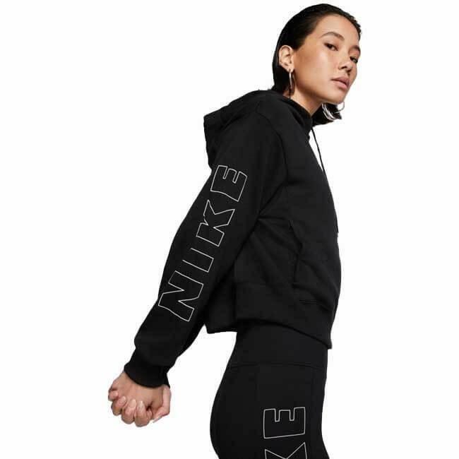 nike nike w nsw air hoodie fz bb flc women's hoodie cu5442-010 black/white