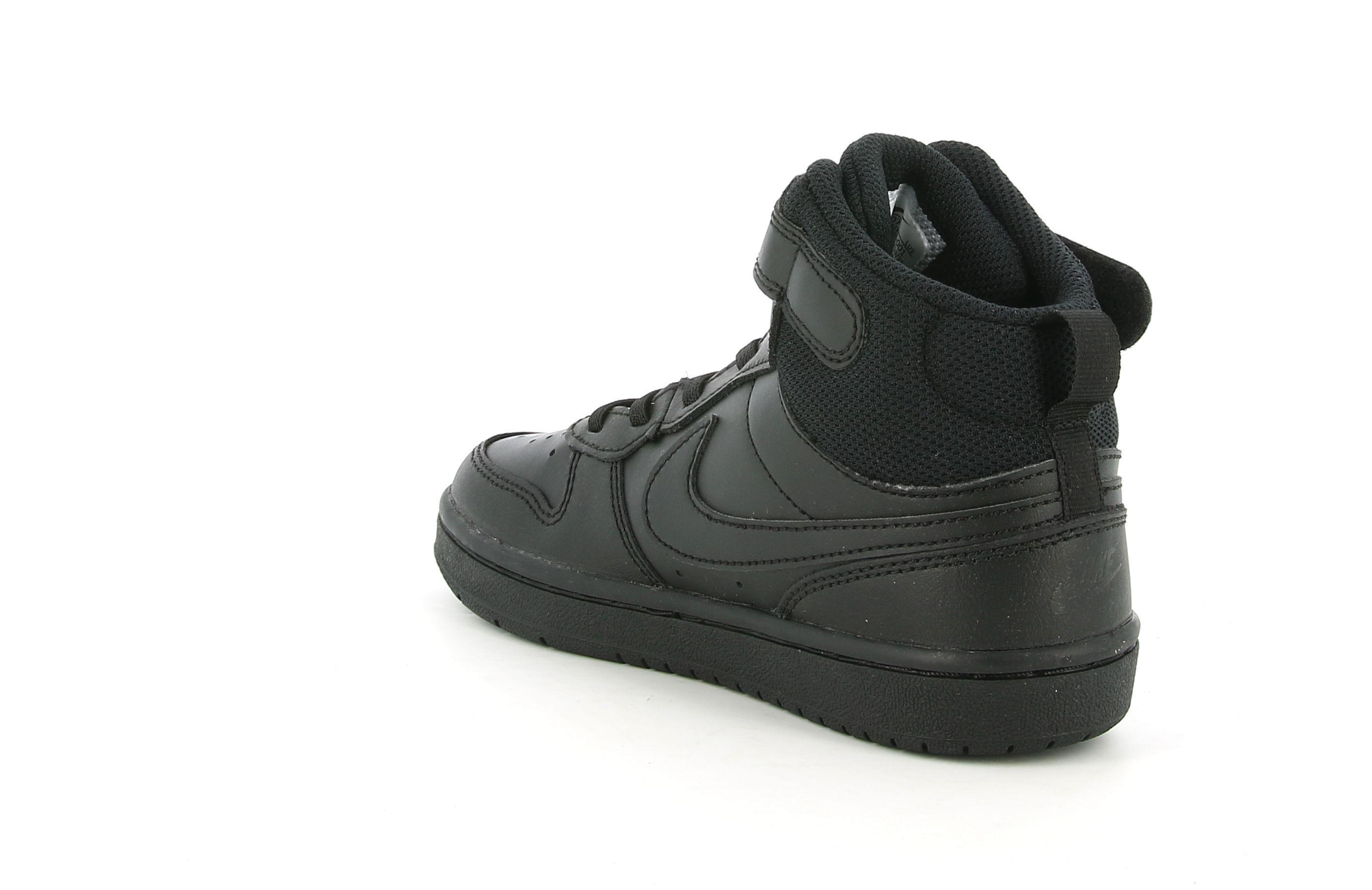 nike nike court borough mid 2 cd7783 001 black/black bambino