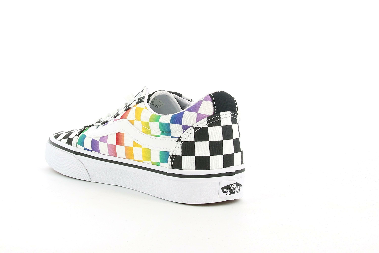 vans vans ward rainbow check vn0a3iun3rl1 sneaker donna bianca e nera