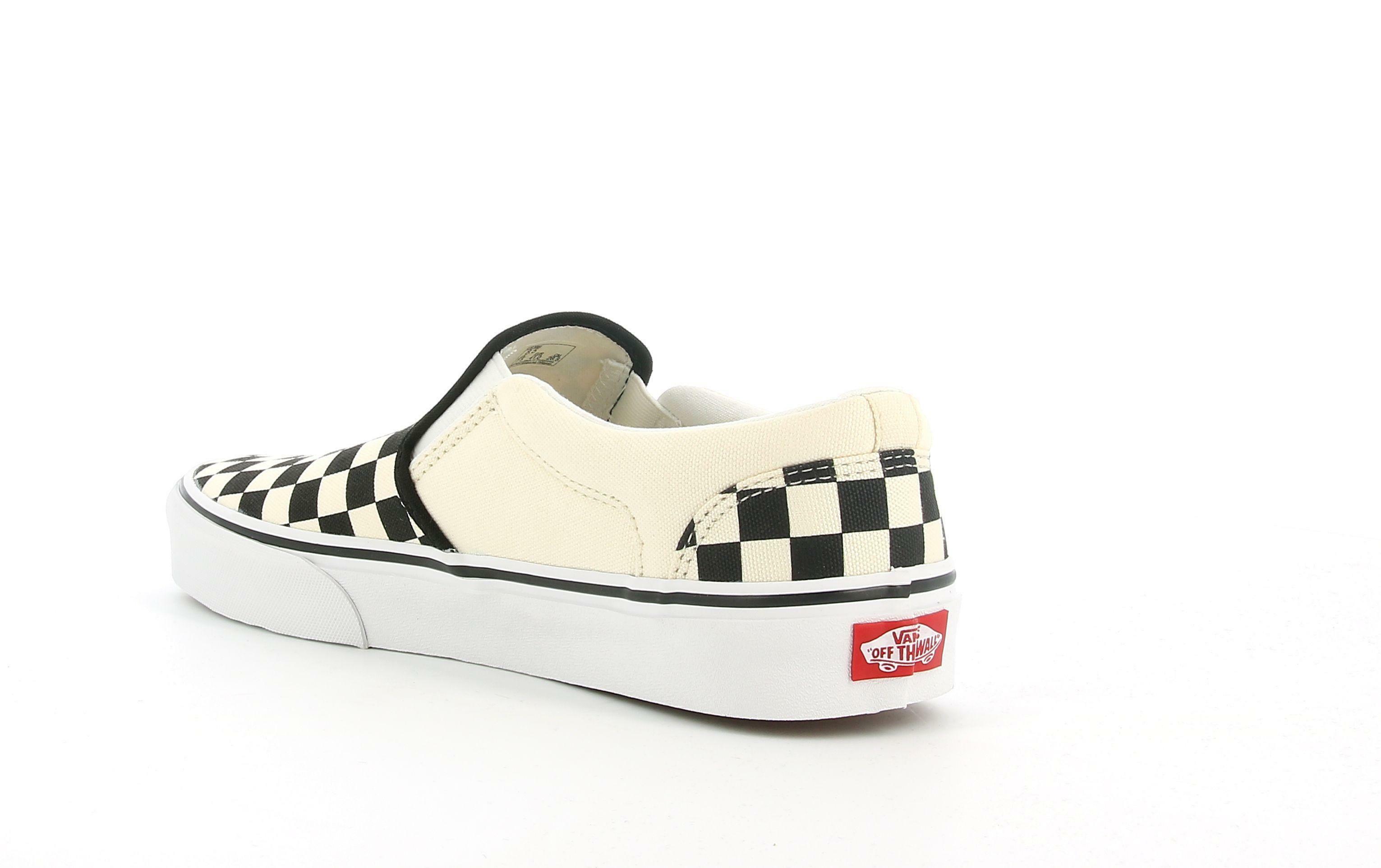 vans vans asher checkers slip on vn000seqipd1 sneaker unisex tela nera/naturale
