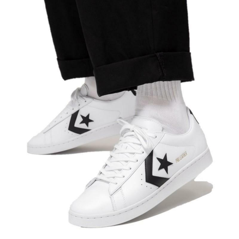 converse converse pro leather ox white/black/white 167237c bianco
